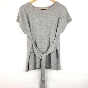 Tahari Ribbed Tie Waist Short Sleeve T-Shirt